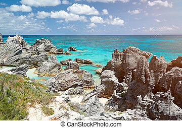 Rocky coast with blue water