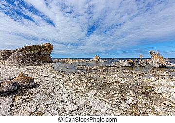 Rocky coast with limestone cliffs in Sweden - Rocky...