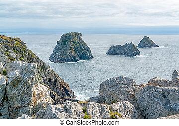 Pointe de Pen-Hir in Brittany - rocky coastal scenery around...