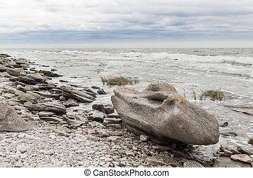 Rocky coastline of Gotland, Sweden