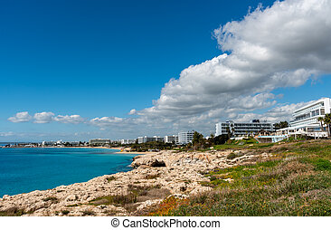 Rocky coastline on the famous holiday resort of Agia Napa in Cyprus. Idyllic place with luxury hotels for perfect holidays