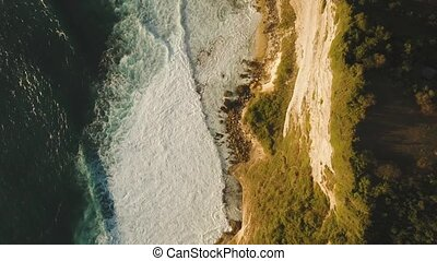 Rocky coastline on the island of Bali. Aerial view. - Aerial...