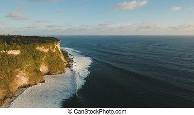 Rocky coastline on the island of Bali. Aerial view.