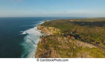 Rocky coastline on the island of Bali. Aerial view. - Aerial...