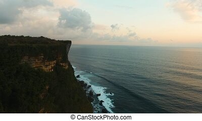 Rocky coastline on the island of Bali. Aerial view.