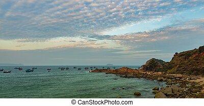 Rocky Coastline Sunset Vietnam