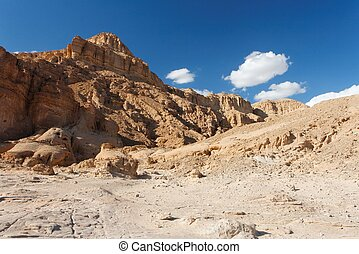 Rocky desert landscape in Timna national park in Israel