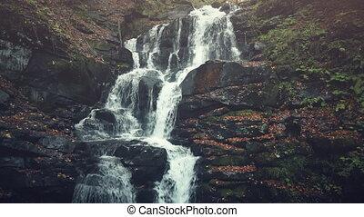 Rocky foamy waterfall stream forest landscape - Rocky Foamy...