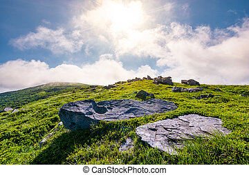 rocky formation on grassy hillside. beautiful scenery of...