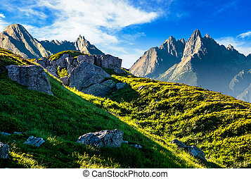 rocky hills in mountains - Composite image of rocky hills...
