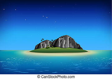 illustration of rocks on island in night view in sea