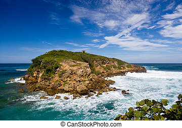 Rocky island off Puerto Rico - Rocky island in surf off the...