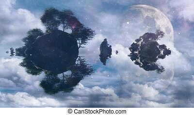 Rocky islands. Giant moon in the cloudy sky
