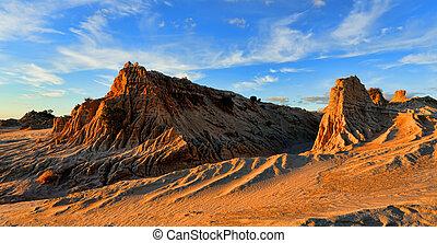 rocky landforms in the outback desert - Rock landforms in ...