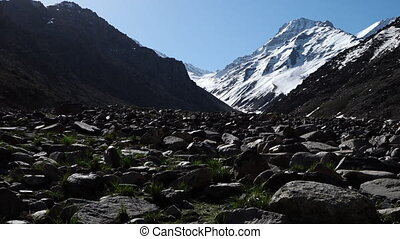 Rocky landscape in winter - A steady, long shot of the rocky...