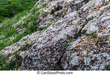 rocky ledges in the mountains