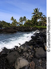 rocky lined coast of maui