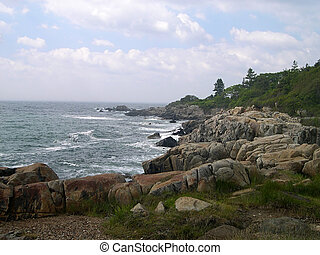 Rocky Maine Coastline - Atlantic coastline in Kennebunkport,...