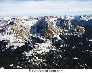 Rocky Mountain aerial. - Aerial view of Rocky Mountain range...