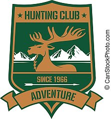 Rocky mountain elk badge for hunting design