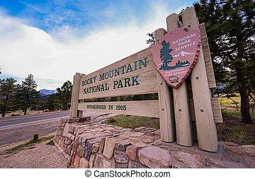 Rocky Mountain National Park Entrance Wooden Sign. Estes Park Entrance. Colorado, United States.