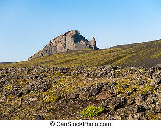 Rocky mountain near Thorsmork, Laugavegur trail, Iceland