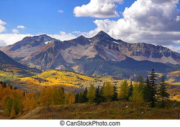 Scenic landscape of rocky mountains in Colorado