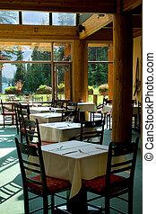 Rocky Mountain restaurant by glacier lake