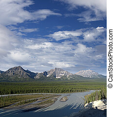 Rocky Mountains and Athabasca River, Alberta, Canada