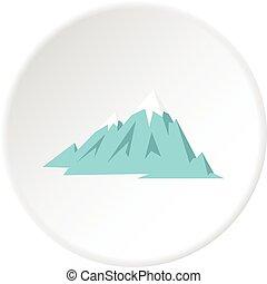 Rocky Mountains icon circle - Rocky Mountains icon in flat...