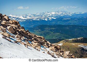 Rocky Mountains in Colorado. Early Summer Snowy Peaks....