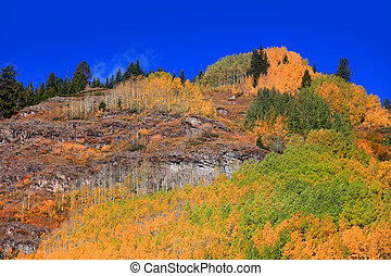 Rocky mountains in Colorado  with fall foliage