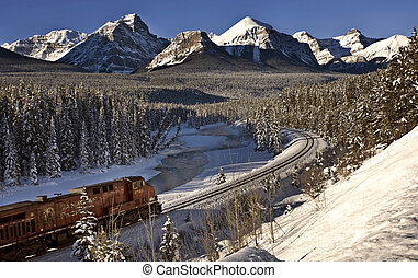 Rocky Mountains in Winter near Banff Alberta Canada