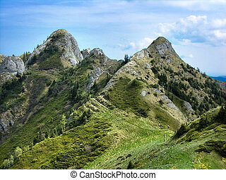 Rocky mountains of Ciucas, Carpathian ridge in Romania -...