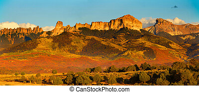 Rocky mountains with evening sun light in Colorado
