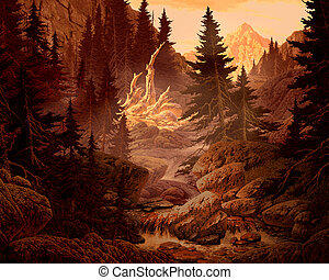 Rocky Mountains - Image from an original painting by Larry...