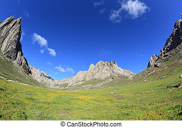 rocky mountains with green grass landscape