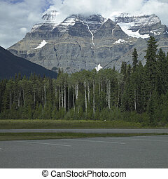 Rocky mountains with trees and parking lot