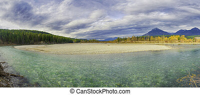 Rocky Moutains and Kicking Horse river from the town of...