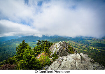 Rocky outcrop and view of the Blue Ridge Mountains, at...
