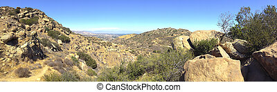 Rocky Peak Trails running eastward to San Fernando Valley, Santa Susana Mountains, CA