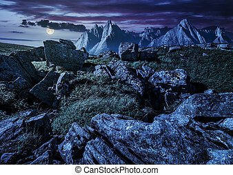 rocky peaks and rocks on hillside in Tatras at night -...