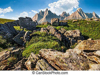 rocky peaks and rocks on hillside in Tatras - composite...