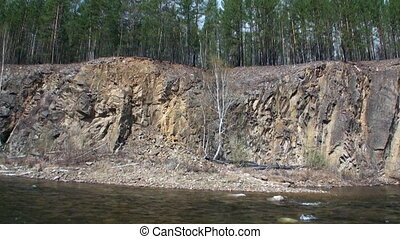 Rocky river bank in Mountain in Siberia of Russia.