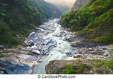 Rocky River in Toroko Gorge in Taiwan