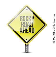 rocky road ahead sign illustration design