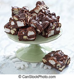 Rocky road fudge with marshmallow and nuts