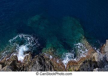 Rocky sea shore in Manarola