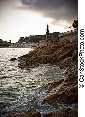 Rocky sea shore of Tossa de Mar