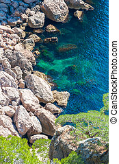 rocky sea shore view from the top